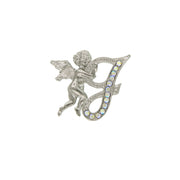 Silver Tone Aurore Boreale Crystal Angel Initial Pin E