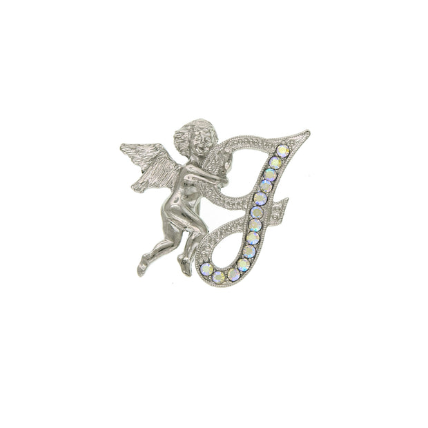 Silver-Tone Aurore Boreale Crystal Angel Initial Pin E