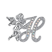 Silver-Tone Aurore Boreale Crystal Angel Initial Pin C