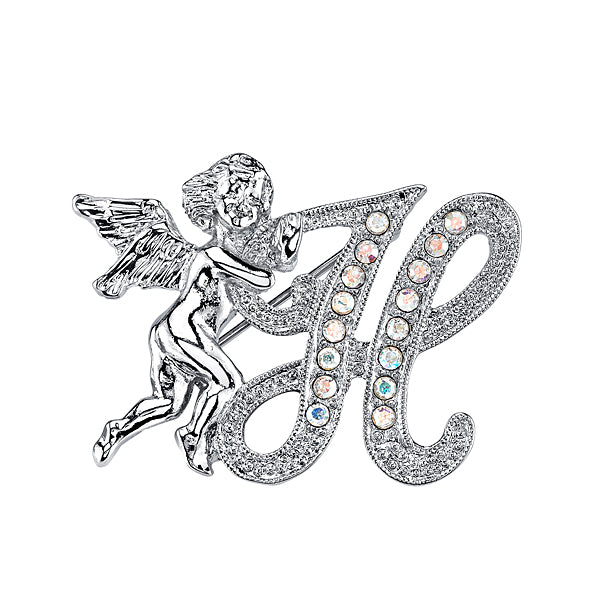 Silver Tone Aurore Boreale Crystal Angel Initial Pin C