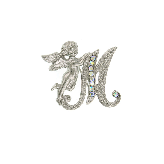Silver Tone Aurore Boreale Crystal Angel Initial Pin K