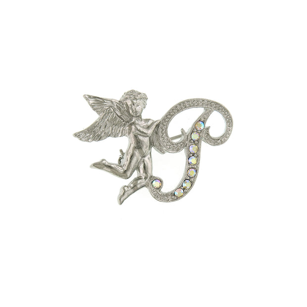 Silver Tone Aurore Boreale Crystal Angel Initial Pin N