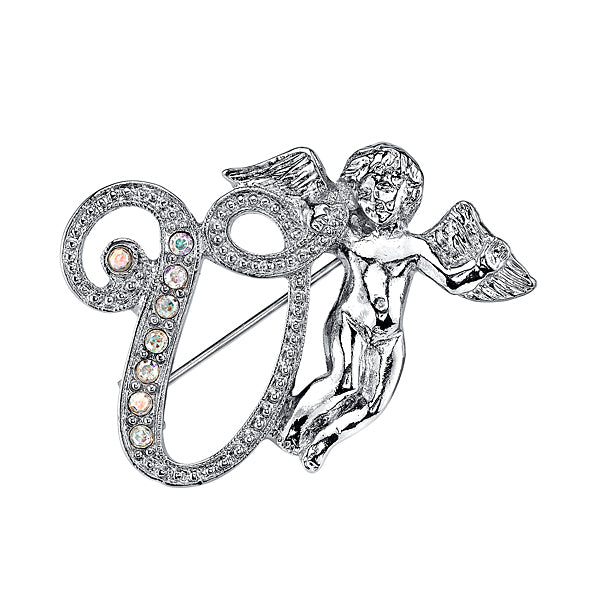 Silver-Tone Aurore Boreale Crystal Angel Initial Pin W