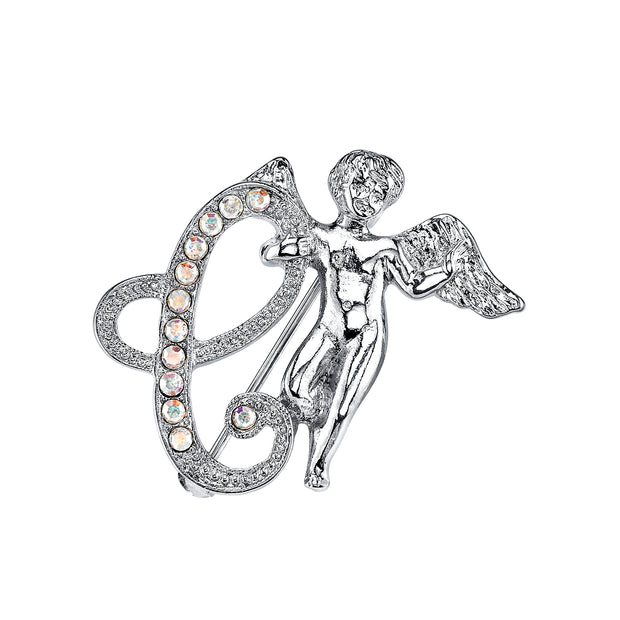 Silver Tone Aurore Boreale Crystal Angel Initial Pin J