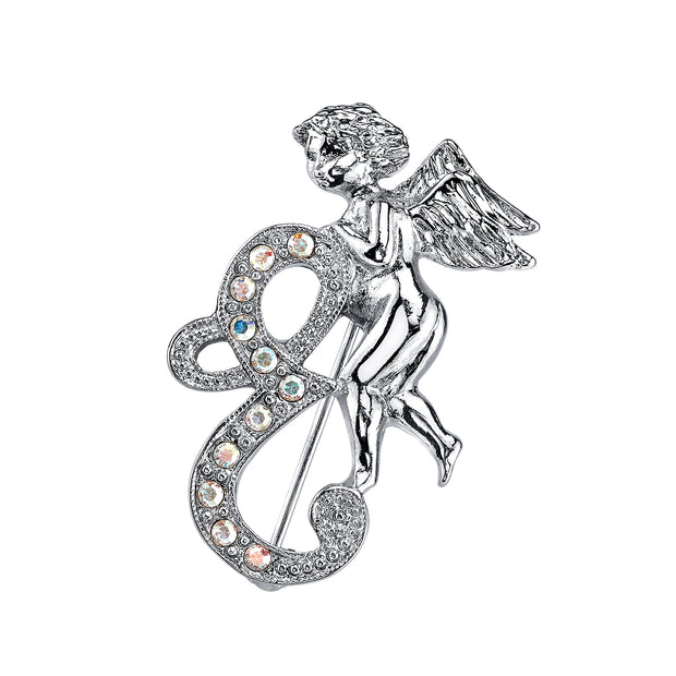 Silver Tone Aurore Boreale Crystal Angel Initial Pin M