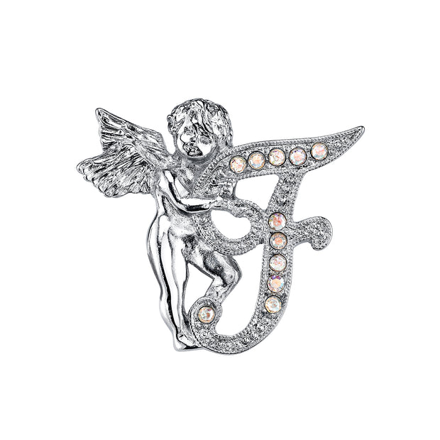 Silver Tone Aurore Boreale Crystal Angel Initial Pin P