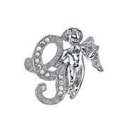 Silver Tone Aurore Boreale Crystal Angel Initial Pin V