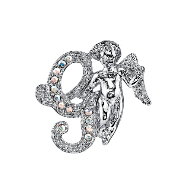 Silver-Tone Aurore Boreale Crystal Angel Initial Pin V