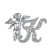 Silver Tone Aurore Boreale Crystal Angel Initial Pin F