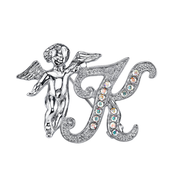 Silver-Tone Aurore Boreale Crystal Angel Initial Pin F