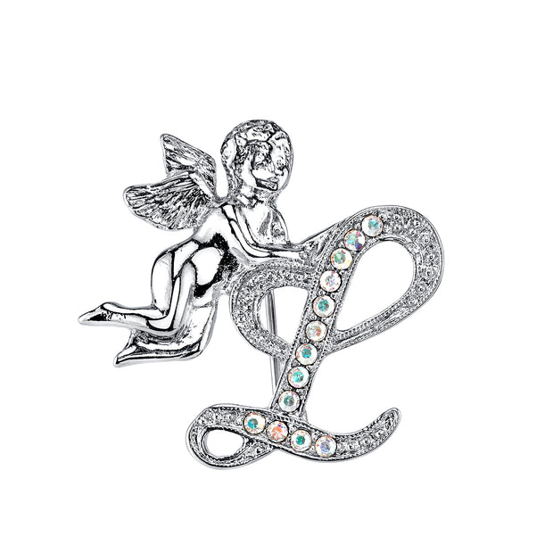 Silver Tone Aurore Boreale Crystal Angel Initial Pin G
