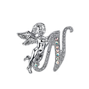 Silver Tone Aurore Boreale Crystal Angel Initial Pin L