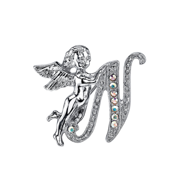 Silver-Tone Aurore Boreale Crystal Angel Initial Pin L