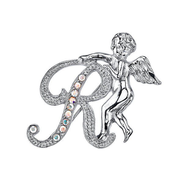 Silver Tone Aurore Boreale Crystal Angel Initial Pin R