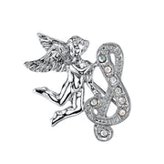 Silver Tone Aurore Boreale Crystal Angel Initial Pin S
