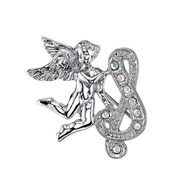 Silver-Tone Aurore Boreale Crystal Angel Initial Pin S