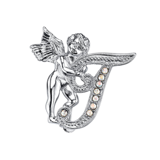 Silver Tone Aurore Boreale Crystal Angel Initial Pin T