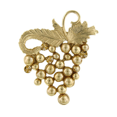 Gold Tone Light Colorado Topaz Costume Pearl Grape Cluster Pin