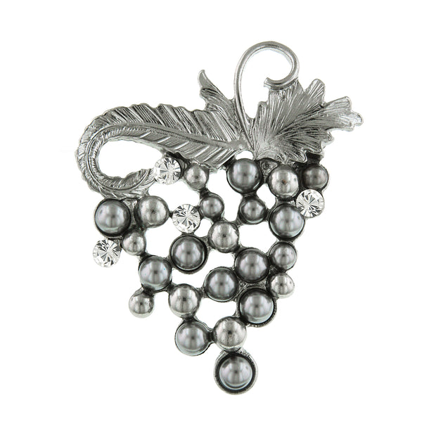 Silver-Tone Grey Costume Pearl and Crystal Grape Cluster Pin
