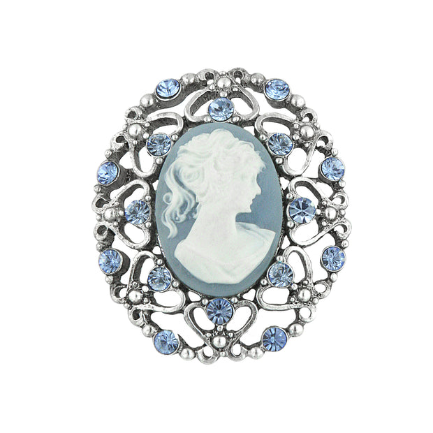 Silver Tone Light Blue Crystal And Cameo Filigree Pin