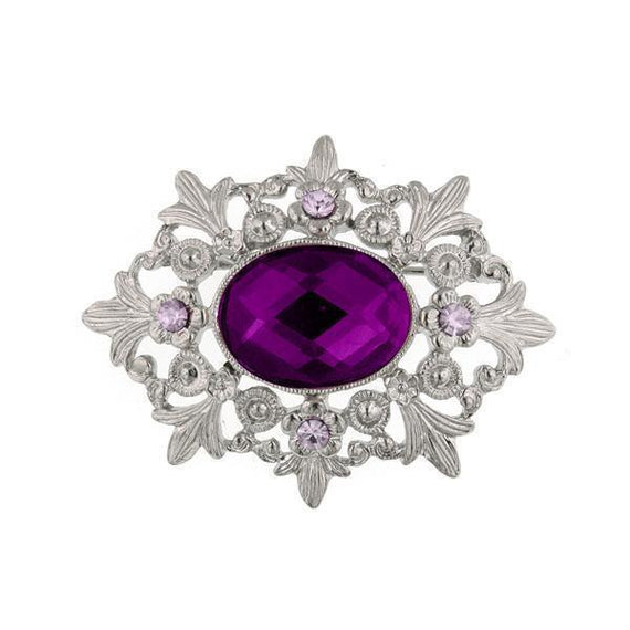 Silver-Tone Purple and Light Purple Pin