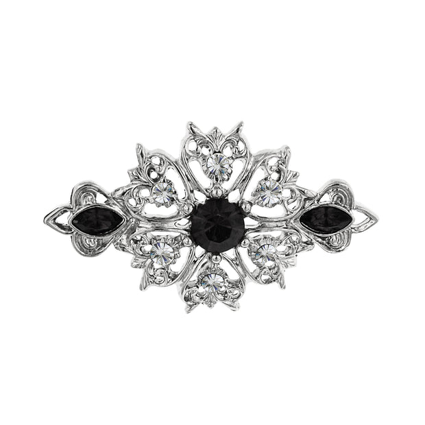 Silver-Tone Black and Crystal Pin