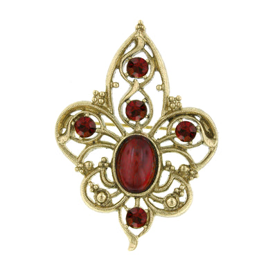Gold Tone Red Crystal Filigree Pin