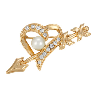 Gold Tone Crystal And Costume Pearl Heart And Arrow Pin