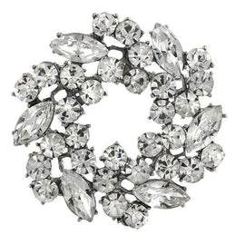1928 Jewelry: 1928 Jewelry - Silver-Tone Crystal Wreath Pin