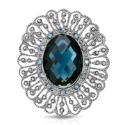 Silver Tone Blue Stone And Light Blue Ab Crystal Oval Pin