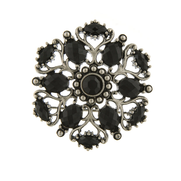 Silver Tone Jet Black Ornate Brooch Pin
