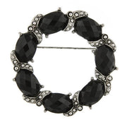 Silver Tone Black Faceted Stone Wreath Pin