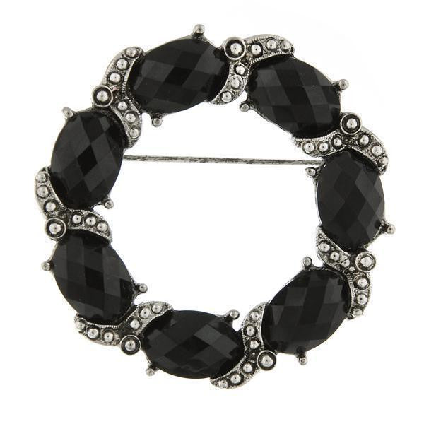 Silver-Tone Black Faceted Stone Wreath Pin