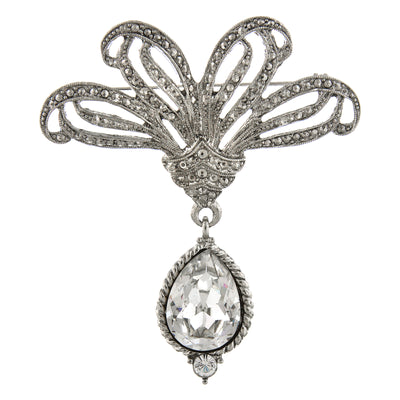 Silver-Tone Ornate Glass Crystal Pear Shape Drop Pin