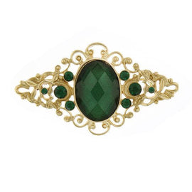 Gold-Tone Green Stone and Green Crystal Filigree Pin
