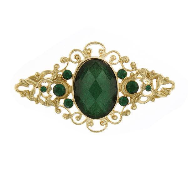 Gold Tone Green Stone And Green Crystal Filigree Pin