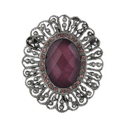 Silver-Tone Amethyst Faceted Stone Filigree Oval Pin