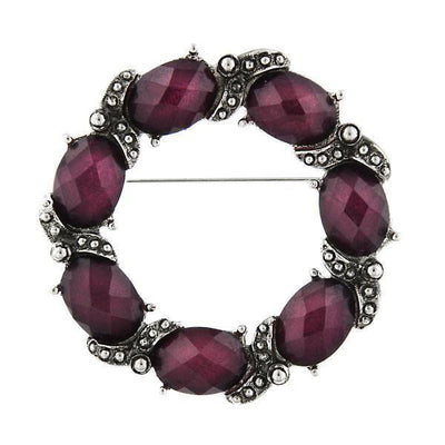 Silver-Tone Purple Wreath Pin