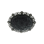 Black-Tone With Black Crystal And Black Carved Flower Pin