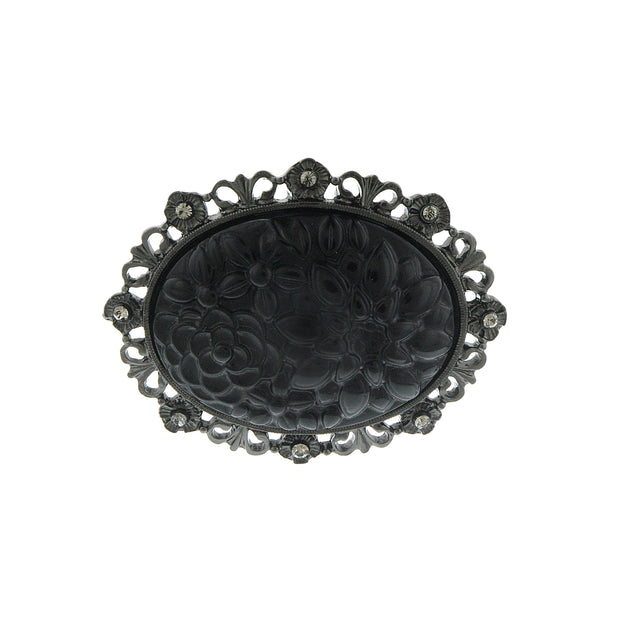Black Tone With Black Crystal And Black Carved Flower Pin