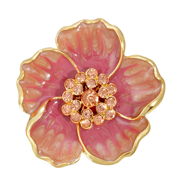Gold-Tone Coral Enamel & Glass Stone Flower Pin