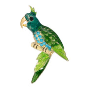 2028 Gold Tone Green And Turquoise Color Parrot Bird Pin