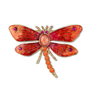 1928 Jewelry Gold-Tone Red Orange Dragonfly Brooch Pin