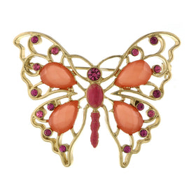 Gold-Tone Rose and Coral Butterfly Pin