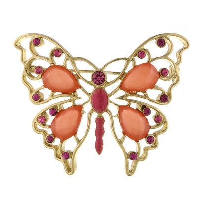 Gold Tone Rose And Coral Butterfly Pin