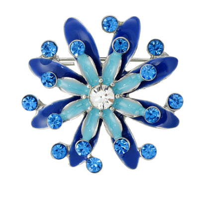 Silver-Tone Blue & Light Blue Crystal Enamel Pin