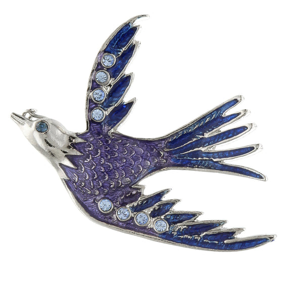 Silver-Tone Blue Bird Pin