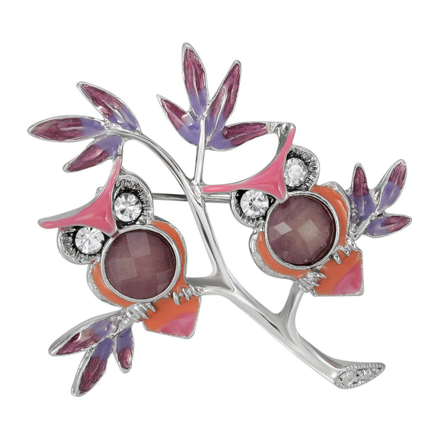 Silver Tone Purple And Pink Enamel Owls Pin