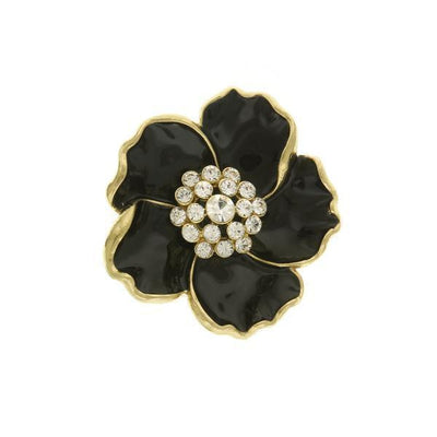 Gold Tone Black Enamel With Crystal Flower Pin