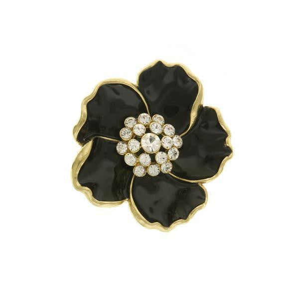 Downton Abbey Gold-Tone Black Enamel with Crystal Flower Pin